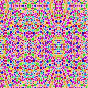 Rainbow Dots Mosaic on Lolly Pink