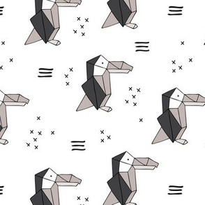 Origami paper art toucan parrot penguin birds geometric cross print gender neutral black and white
