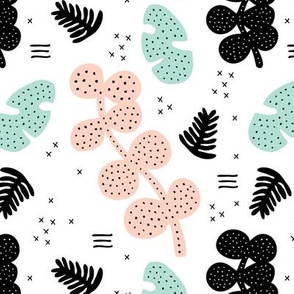 Tropical summer  monstera garden petals and leaves memphis geometric pastel style blush pink mint