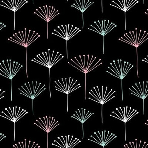 Classic abstract dandelion poppy flower garden summer design black mint pink