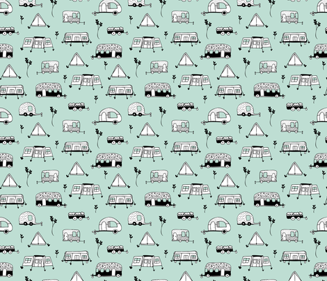 Cool summer camping mint tent caravan and camper van illustration vacation design fabric by littlesmilemakers on Spoonflower - custom fabric