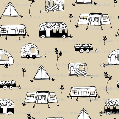 Cool summer camping beige tent caravan and camper van illustration vacation design