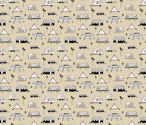 Cool summer camping beige tent caravan and camper van illustration vacation design fabric by littlesmilemakers on Spoonflower - custom fabric