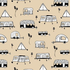 Cool summer camping beige tent caravan and camper van illustration vacation design