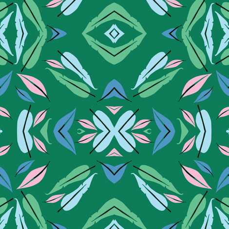 Green feathers  fabric by bruxamagica on Spoonflower - custom fabric