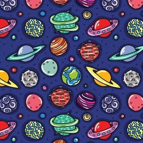 Imaginary Space Cartoon Planets