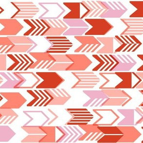 Tribal Arrows (Tomato Soup) || geometric chevron arrow native arrowhead stripes valentine valentines day love