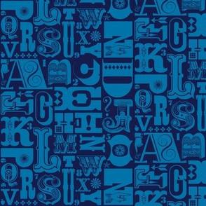 Woodtype Alphabet* (Jackie Blue) || letterpress typography wood type letters numbers vintage western ornaments monotone