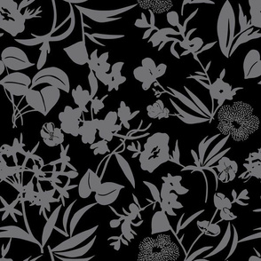 tropical blooms - grey/black