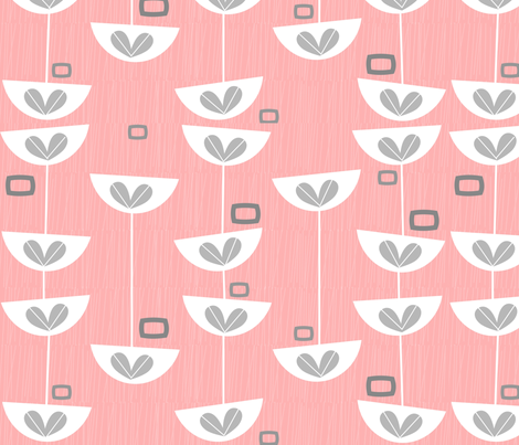 Mid-Century Pink Floral fabric by gigirn46@aim_com on Spoonflower - custom fabric