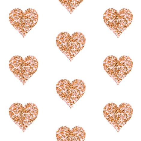 Rose Gold Glitter Hearts fabric by willowlanetextiles on Spoonflower - custom fabric