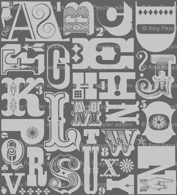 Woodtype Alphabet* (Pepper Pot) || letterpress typography wood type letters numbers vintage western ornaments monotone