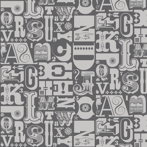 Woodtype Alphabet* (Pepper Pot) || letterpress typography wood type letters numbers vintage western ornaments monotone fabric by pennycandy on Spoonflower - custom fabric