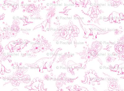 Dinosuar Toile Hot Pink