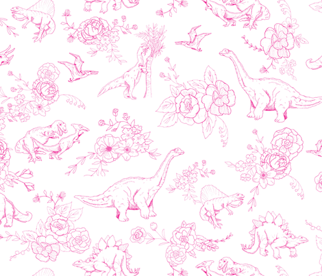 Dinosuar Toile Hot Pink  fabric by hey_there_louise on Spoonflower - custom fabric