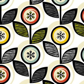 Footnote Flower Revisited* || midcentury modern garden floral flowers leaves nature upholstery