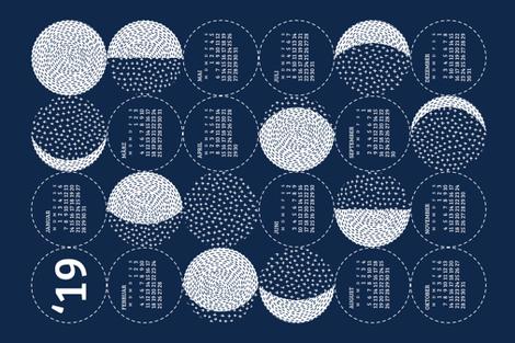 German 2019 Calendar, Monday / Moon Phases  fabric by marketa_stengl on Spoonflower - custom fabric