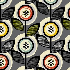 Footnote Flower Revisited* (Pepper Pot) || midcentury modern garden floral flowers leaves nature upholstery