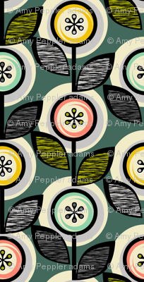 Footnote Flower Revisited* (Statue of Liberty)    midcentury modern garden floral flowers leaves nature upholstery