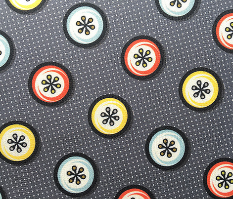 Footnote Flower Buttons* (Revisited) || geometric circles midcentury modern flowers polka dots