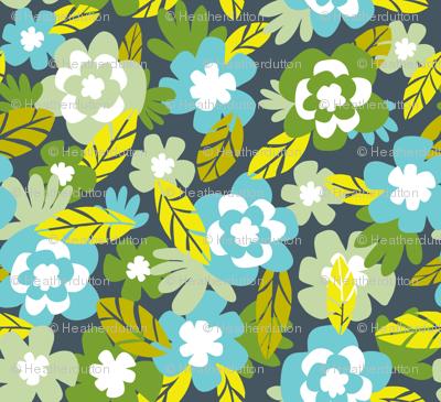 Kalea - Tropical Floral Blue Aqua Green