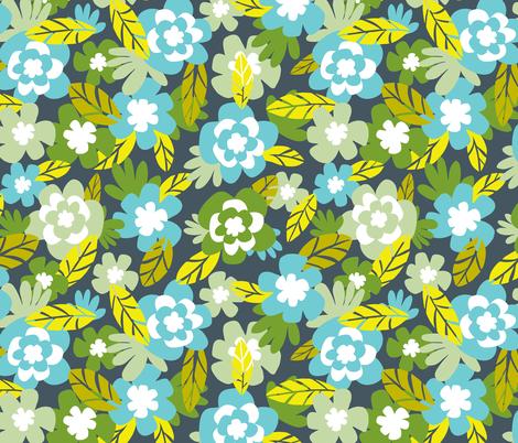 Kalea - Tropical Floral Blue Aqua Green fabric by heatherdutton on Spoonflower - custom fabric