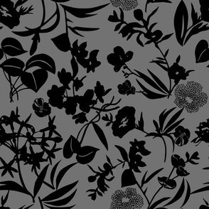 tropical blooms - black/grey
