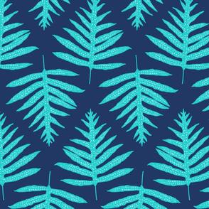 Turquoise Fern Array on Indigo 150