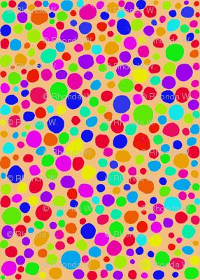 Rainbow Dots Mosaic on Dusky Apricot