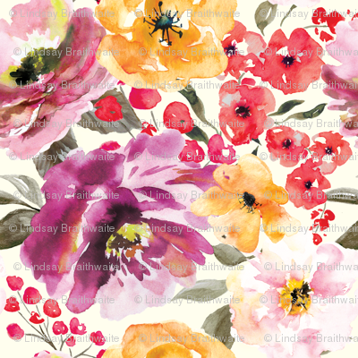 Fall Floral Painted Watercolor Flowers in Purple Gold