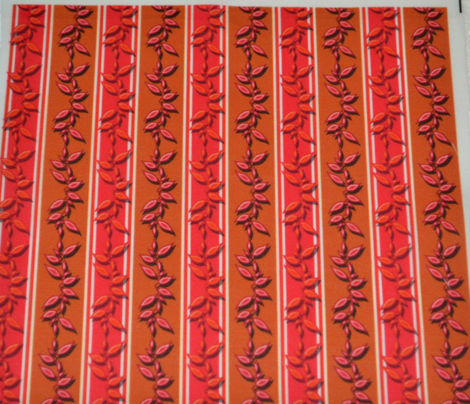 Leafy Stripe Red and Brown