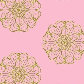 Gold Filigree Flowers on Lolly Pink