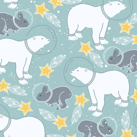 Bear and Rabbit Kids Space fabric by julia_dreams on Spoonflower - custom fabric