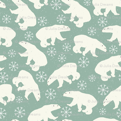 Winter Bear and Snowflakes