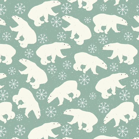 Winter Bear and Snowflakes fabric by julia_dreams on Spoonflower - custom fabric