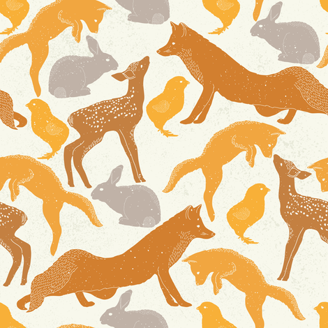 Autumn Forest Animals fabric by julia_dreams on Spoonflower - custom fabric
