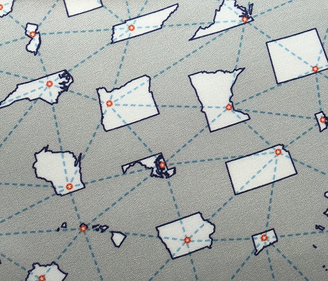 Cross Country* (Silkscreen) || United States usa America state capital star travel vacation route geometric map navigation U.S.