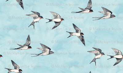 Scattered Blue Sky Swallow Flight - small version