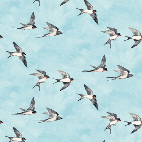 Scattered Blue Sky Swallow Flight - small version fabric by micklyn on Spoonflower - custom fabric