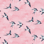 Scattered Pink Sky Swallow Flight - small version