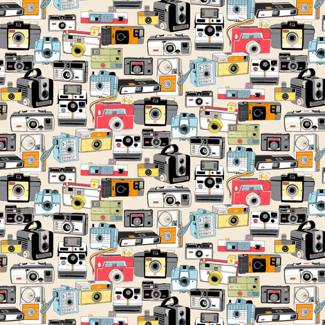 Make It Snappy! (Micro Cream) || vintage camera illustrations analog photography film photo photographer fabric by pennycandy on Spoonflower - custom fabric