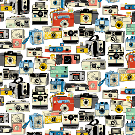 Make It Snappy! Revisited* (Mini) || vintage camera illustrations analog photography film photo photographer fabric by pennycandy on Spoonflower - custom fabric