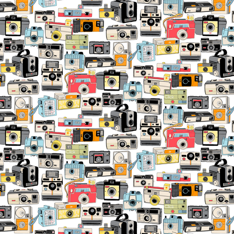 Make It Snappy! (Micro) || vintage camera illustrations analog photography film photo photographer fabric by pennycandy on Spoonflower - custom fabric