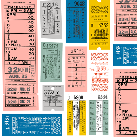 Ticket to Ride* {Revisited} || vintage ephemera bus train subway tickets uk Europe London British fabric by pennycandy on Spoonflower - custom fabric