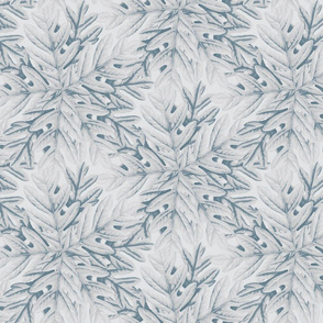 16-01d Autumn Tree Leaf Trellis || Oak Leaves Slate Blue gray grey _Miss Chiff Designs