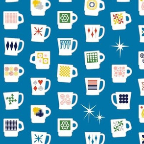King of Cups* (Blue Liz) || vintage coffee mugs retro kitchen geometric milk glass midcentury modern atomic