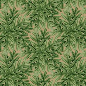 Oak Leaf Autumn Leaves Green on Tan_Miss Chiff Designs