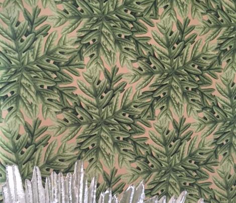 Green Oak Leaf Tree Leaves Autumn  on Slate Blue_Miss Chiff Designs