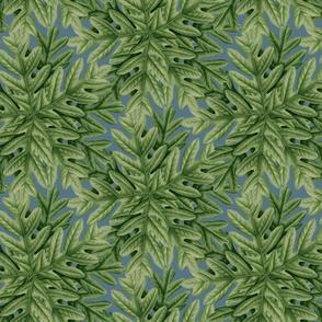 Autumn Oak Leaf Tree Leaves Autumn  on Slate Blue_Miss Chiff Designs