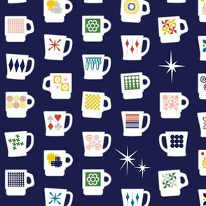 King of Cups* (Jackie Blue) || vintage coffee mugs retro kitchen geometric milk glass midcentury modern atomic